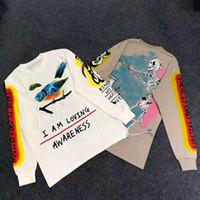 kuş kafatasları toptan satış-KANYE WEST WES LANG T-SHIRT YURTDIŞI El boyalı kuş grafiti kafatası Uzun kollu T gömlek HIP HOP Erkekler Kadınlar Yüksek Kalite Streetwear T-shirtv