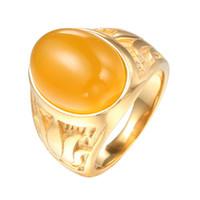 opala amarelo verde venda por atacado-Anel de Aço Inoxidável dos homens Colorido Verde Amarelo Opal Pedra Anel Moda Punk Anéis para Homens JOR114