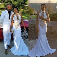 Wholesale prom dress online - 2019 White Halter Satin Long Mermaid Prom Dresses Black Girls Keyhole Lace Applique Sweep Train Formal Party Evening Gowns