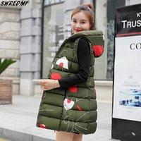 chaleco ejército verde mujer al por mayor-SWREDMI más el tamaño S-3XL Chaleco largo Mujeres 2019 nuevo otoño e invierno chaleco Ejército Mujer Verde caliente grueso chaleco con capucha Tops
