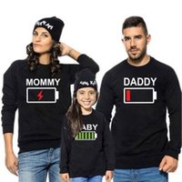 Wholesale outfit family resale online - Family Matching Clothes Long Sleeve Outfit Clothing Fall Battery Print Hooded Fleece Family Casual Tops RRA180