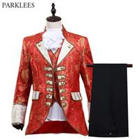 erkekler kırmızı takım elbisesi toptan satış-Mens Kırmızı Stil Beş parçalı Takım Elbise Set 2019 Yeni Avrupa Gotik Ortaçağ Kostüm Homme Drama Balo Şarkıcı Sahne Suit Erkekler için