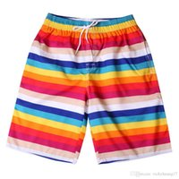 Wholesale surf paintings resale online - Fashion couple shorts men and women personality striped shorts painted beach print surf beach Y426