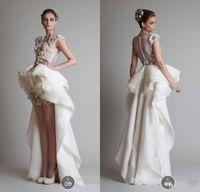 berühmtheit hochzeiten großhandel-Promi Abendkleider Organza Hallo-Lo Arabisch Sexy Prom Brautkleider Mit Applique Handarbeit Und Asymmetrischen Zug Hochzeiten Kleider