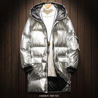 abrigo de plata brillante al por mayor-abrigo de invierno de los hombres de 2018 hombres en el nuevo largo de la tendencia apuesto engrosamiento ropa de algodón acolchado ropa de algodón de plata brillante