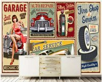 Wholesale classic car wallpaper online - 3d wallpaper on the wall custom photo Retro poster beauty car industry wind painting home decor living room wallpaper for walls d