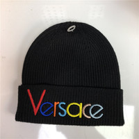 Wholesale embroidery for girls resale online - Newest design Color embroidery women men Winter Hat Winter Beanies Warm high density Knitted Hat For Boy Girl