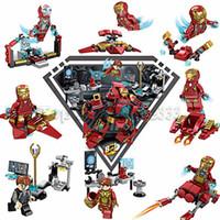 Wholesale robots movie toys for sale - 8 IN Super Hero Avengers Movie Building Blocks Compatible LegoINGLYs Marvel Robot Iron Man Technic Bricks Toy For Boy