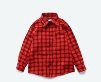 kinder rote strickjacke groihandel-2019 Neue Sommermode Kinder Rot und Gelb Karo V-Ausschnitt T-Shirt Strickjacke Studenten Jungen Herbst Mantel Kleidung