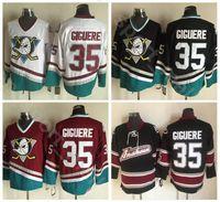 peliculas vintage gratis al por mayor-1993 Vintage Movie 35 Jean-Sebastien Giguere Anaheim Ducks CCM Camisetas de hockey sobre hielo Equipo de color negro rojo blanco cosido Envío gratis