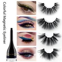 dicker eyeliner großhandel-Bunter magnetischer Eyeliner-falsche Wimpern stellten wasserdichten Eyeliner-magnetische starke lange gefälschte Wimper-Make-upwerkzeuge HHA662 ein
