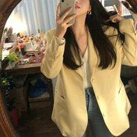 blazers de tamanho amarelo mais venda por atacado-Mulheres Primavera Casuais Longos Casacos Blazers Casaco Entalhado Gola Amarela Chaqueta Mujer Bolso Outerwear Solto Plus Size