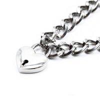 coleiras sexuais de aço inoxidável venda por atacado-Collar Ladies Stainless Steel Slave com fechadura fetiche Bondage Limitações Sex Toys para mulheres casais jogos de sexo