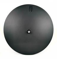 12k fibre de carbone achat en gros de-Magasins d'usine 700C 23mm largeur roues de disque en fibre de carbone piste / vélo de route 3k / 12k roues de disque d'armure pneu / roues de carbone tubulaires