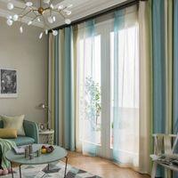 types de rideaux achat en gros de-Style Méditerranéen Coloré Rayures Coton Linge Moderne Fenêtre Rideaux pour Salon Chambre Enfants Kinds Salle Rideaux