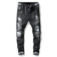 mavi tulum erkek toptan satış-Ünlü Marka Tasarımcı Erkekler Jeans Kot Mavi Rock Star Erkek Tulum Tasarımcı Denim Erkek Pantolon Ripped