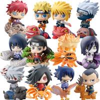 e mount achat en gros de-6pcs / set Naruto Sasuke Uzumaki Kakashi Gaara Action Avec Montures Chiffres Japon Collections De L'anime Cadeaux Jouets #E