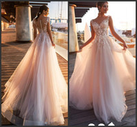 Wholesale blush wedding dress for sale - Group buy 2020 New Elegant Blush Pink Lace Appliques A Line Wedding Dresses Sheer Scoop Neck Tulle Covered Button Tulle Long Wedding Gowns Customize