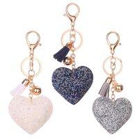sac à main en strass achat en gros de-Coeur strass sac à main charme pendentif porte-clés voiture sac à main porte-clés porte-clés