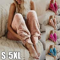 paño de noche al por mayor-Pantalones Mujeres Salón del sueño pijama Bottoms Warm Wear felpa Fleece Pantalones sueño pijama Noche pantalones largos sólidas 10pcs LJJO7607-7