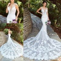 Wholesale sexy backless picture resale online - 2020 Lace Mermaid Wedding Dresses V Neck Appliques Beads Court Train Illusion Beach Wedding Dress Sexy Backless Plus Size Boho Bridal Gowns