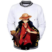 Wholesale japanese hot clothes for sale - Group buy One Piece Luffy D Print Fashion Brand Baseball Jackets Women Men Hot Anime Japanese Casual Hip Hop Street Baseball Jackets Clothing