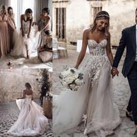 bohem tarzı ülke elbiseleri toptan satış-2019 Ucuz Artı Boyutu Ülke Tarzı 3D Çiçek Aplikler A-Line Gelinlik Gelinler için Bohemian Gelinlikler robe de mariée