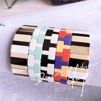 ingrosso vendita di braccialetti elastici-Caldo delle mattonelle della lega di vendita braccialetti braccialetto dell'America multicolore elastico per le donne inverno Vogue Pulseras Mujer Insta regali di modo