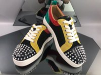 homens sapatos de lazer preço venda por atacado-Preço de fábrica Mens Designer de Luxo Casual Shoes Malha Couro Low Top Spikes parte inferior vermelha Sapatos Homens Marcas Moda Mulheres de lazer com Box