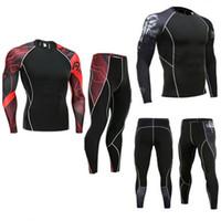 ingrosso t-shirt uomo termico-Gli uomini di compressione Suit fitness Tuta abbigliamento di marca 3D Printed Crossfit T-Shirt Leggings 2PC set di biancheria intima termica S-4XL