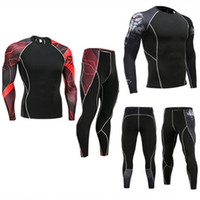 Wholesale t shirt fitness clothing compression resale online - Men Compression Suit Fitness Tracksuit Clothing Brand d Printed Crossfit T Shirt Leggings pc Set Thermal Underwear S XL