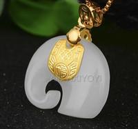 yeşim armatür kolye toptan satış-Doğal Beyaz Hetian Yeşim + 18 k Katı Altın Kakma Çin Sevimli Fil Muska Şanslı Kolye + Ücretsiz Kolye takı Sertifika Y19052301