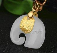 colar de amuleto de jade venda por atacado-Natural Branco Hetian Jade + 18 k Ouro Sólido Incrustado Chinês Bonito Elefante Amuleto Pingente de Sorte + Colar de Jóias Gratuitas Certificado Y19052301
