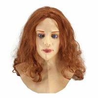 ingrosso maschere piene di fronte sexy-Realistico maschera femminile in lattice umano testa piena faccia luminosa della mascherina del partito Sexy Cosplay Woman Face Crossdressing