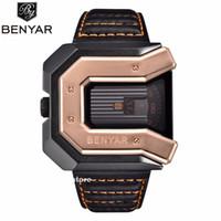 relojes digitales movimiento japon al por mayor-BENYAR 45mm regalo del reloj de moda de Japón Miyota 2035 movimiento de la Plaza de la correa del reloj creativo reloj de alta calidad hombres al por mayor
