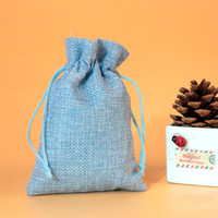Wholesale small jute drawstring bags resale online - 7x9cm Light Blue linen jute bags favor charms jewelry package bag small drawstring gift bag Wedding packaging bags