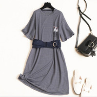 Wholesale knitted fashionable clothing for sale - European and American women s clothing summer new style Short sleeved crane embroidery belt Fashionable striped knit dress