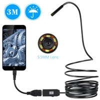 endoscope inspection étanche achat en gros de-OWSOO 6 LED Borescope 5.5MM Endoscope USB 3M Câble de sonde d'inspection étanche Endoscope USB serpent OTG Caméra tube Compatible