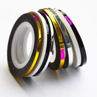 ingrosso free art strip-1 pz 2mm 3mm Bellezza Roll Stripping Sticker Foils nail Art Tape Line FAI DA TE Nuovo Argento / Oro / Nero / Bianco Strumenti Manicure Strumento LANC125