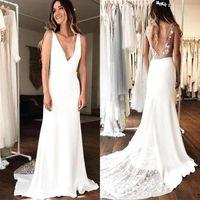 Wholesale vintage sexy wedding guest dresses resale online - Simple A Line Wedding Dresses Cheap V Neck Backless Tulle Satin Lace Wedding Guest Dress Bridal Gowns Bridesmaid Dress BM1513