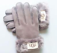 ingrosso guanto di pelle di pelliccia-Le donne di sci Guanti di sport esterni di cuoio della pelliccia del progettista di marca Five Fingers Guanti colore solido inverno all'aperto Guanti in pelle Warm 5