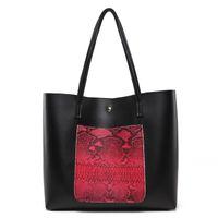 красные большие сумочки оптовых-Serpentine Pattern Large Tote Bag Soft Leather Women Single Shoulder Bag Fashion Female Big Leather Handbag Black Red Wholesale