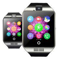 smartwatch wifi toptan satış-Q18 Artı Android 4.4 Akıllı İzle MTK6572 4G ROM 512 RAM Smartwatch 3G SIM WiFi Kamera GPS Relogio Inteligente PK DM98