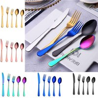 Wholesale fork spoon party for sale - Group buy Colorful set flatware set tableware cutlery fork knife spoon teaspoon kitchen accessories for wedding home parties