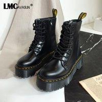 stiefel frauen schwarzes patent großhandel-LMCAVASUN schwarzem Lackleder Ankle Boots Frauen schnüren sich oben Plattform Stiefel Damen-Winter-warmer Plüsch-Straßen-Art-Schuhe