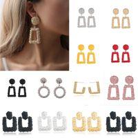 ingrosso orecchini per le tendenze delle donne-Grandi orecchini vintage per le donne Orecchini dorati di dichiarazione geometrica di colore 2018 Earing di metallo che appendono i monili di tendenza
