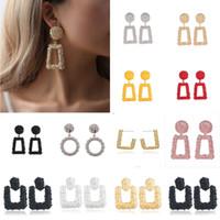 geometrische schmucksachen großhandel-Große Vintage Ohrringe Für Frauen Farbe Goldene Geometrische Aussage Ohrringe 2018 Metall Earing Hängen Trend Schmuck