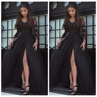 Wholesale line special occasion dresses for sale - Group buy Black Lace Long Sleeves Prom Dresses Sexy Split Side Formal Women Evening Party Gowns Custom Vestidos De Soiree Cheap Special Occasion