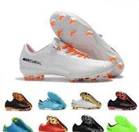 zapatos cr7 blancos al por mayor-Barato blanco para hombre botines de fútbol Mercurial Superfly CR7 zapatos de fútbol de los hombres tobillo alto Cristiano Ronaldo botas de fútbol clásico