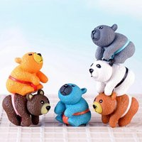 ingrosso ornamenti in miniatura-Ornamenti bambola a forma di orso fai da te Carino fatti a mano arti e mestieri in PVC per torta Figurine in miniatura decorazione forniture CCA10947 200 pezzi